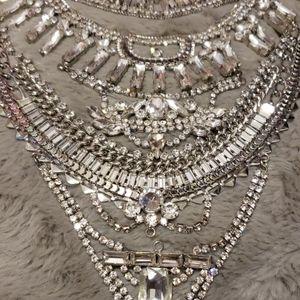 Statment silver rhinestone necklace